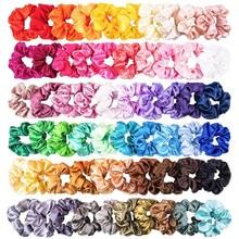 Сплошной шелк цвета атласная лента для волос подходит хвостик 60 шт. резинки эластичные атласные повязки для волос для девочек аксессуары для волос, резинки