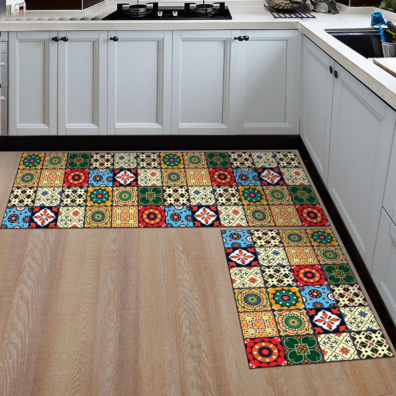 Anti slip Kitchen Floor Mat Printed Kitchen Rugs Modern Area Rug for  Kitchen Bathroom Carpet Doormat Hallway Geometric Bath Mat