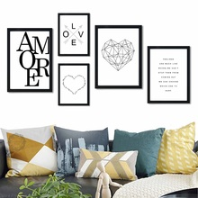 Scandinavian Style Love Poster Heart Black White Canvas Painting Amore Wall Pictures For Living Room Nordic Decoration Home Art