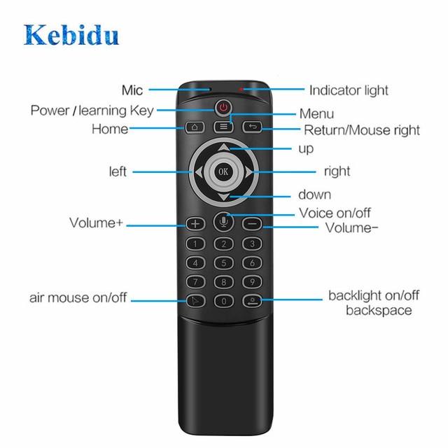 Kebidu 2.4g voz sem fio mouse de ar mt1 controle remoto ir aprendizagem giroscópio detecção remoto inteligente retroiluminado para o jogo android caixa tv