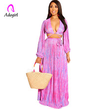 Adogirl Pink Sexy V-neck Long Sleeve Two Piece Maxi Dresses for Women Floor Length Bohemia Summer Dress Ball Gown Vestidos