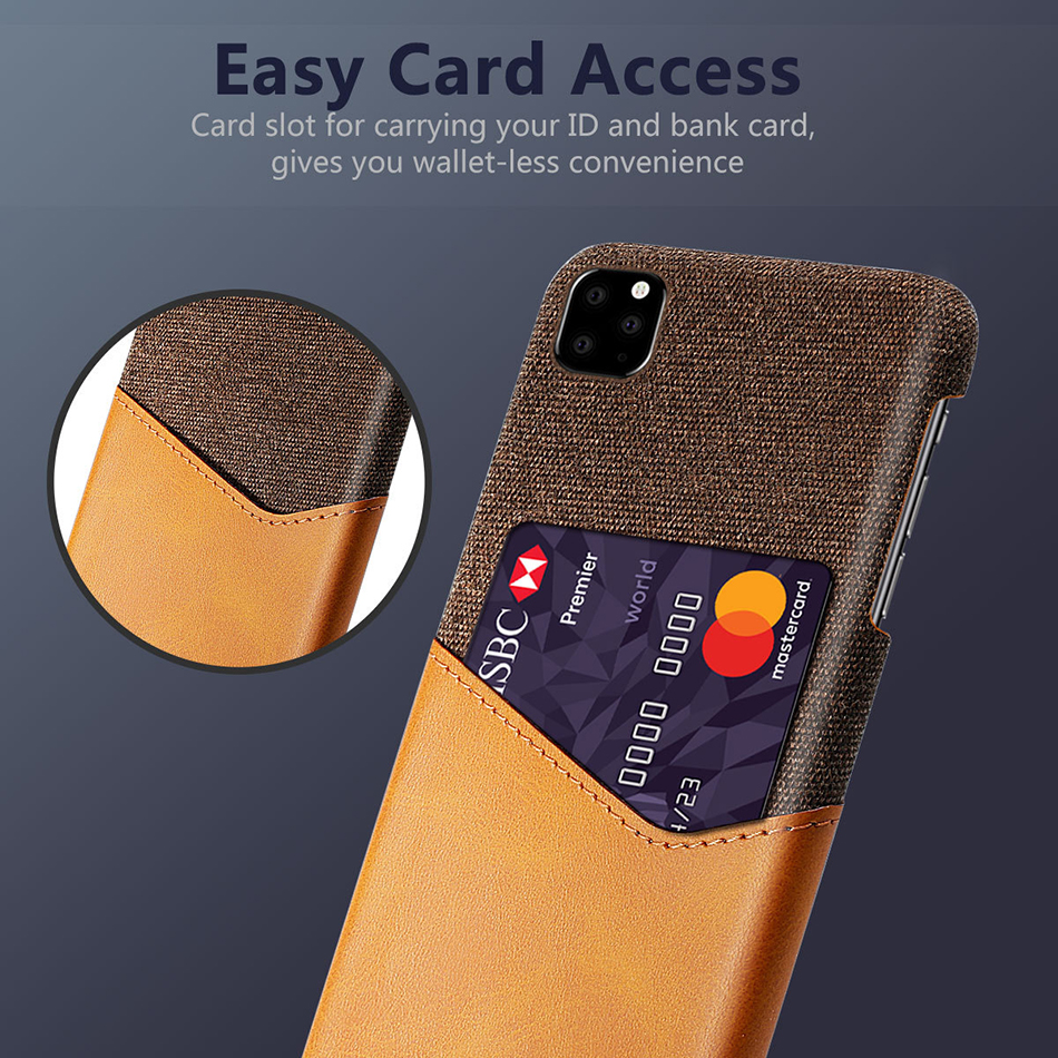 !ACCEZZ Fabric Phone Case For iPhone 11 Pro Max Case Protection Back With Card Pocket Anti-slip Shell Cover Business Coque Capa (2)