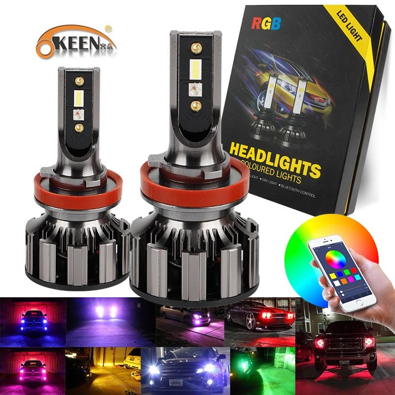 OKEEN 2pcs H4 H7 LED Bulbs RGB LED Headlight For All Cars Super Bright 7600LM Headlamp APP Bluetooth Music Control Led Fog Light