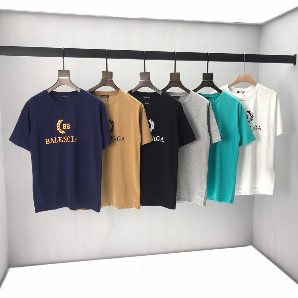 2020 Spring Summer Women's Paris  Letter Embroidery Cotton Black Short Sleeve Men T-shirt B1