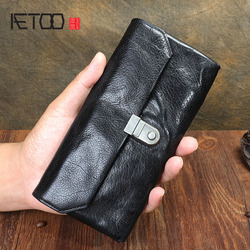 Original retro multi-function leather long wallet First layer cowhide multi-function wallet Mobile phone bag lock clasp