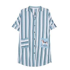 Image 4 - Sleepshirts Plus Size Vestito Da Notte Delle Donne 100% Cotone Della Biancheria Degli Indumenti Da Notte A Righe Risvolto Cardigan del Bicchierino di Estate Notte Vestaglia