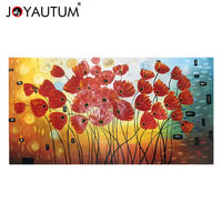 Red flower flower hand painted three dimensional oil painting rich tree oil painting living room porch decorative painting
