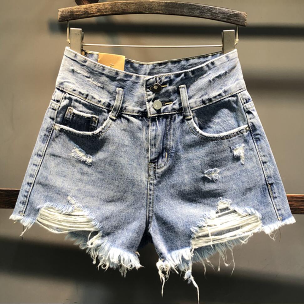 2020 Spring Summer New Fashion Denim Shorts High Waist Women Irregular Wide-leg Tassel Jeans Shorts