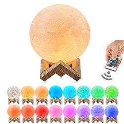 Светодиодный ночник с 3D-принтом Луны, USB, 16 цветов, с дистанционным управлением и сенсорным управлением, 10 см, 15 см, 20 см