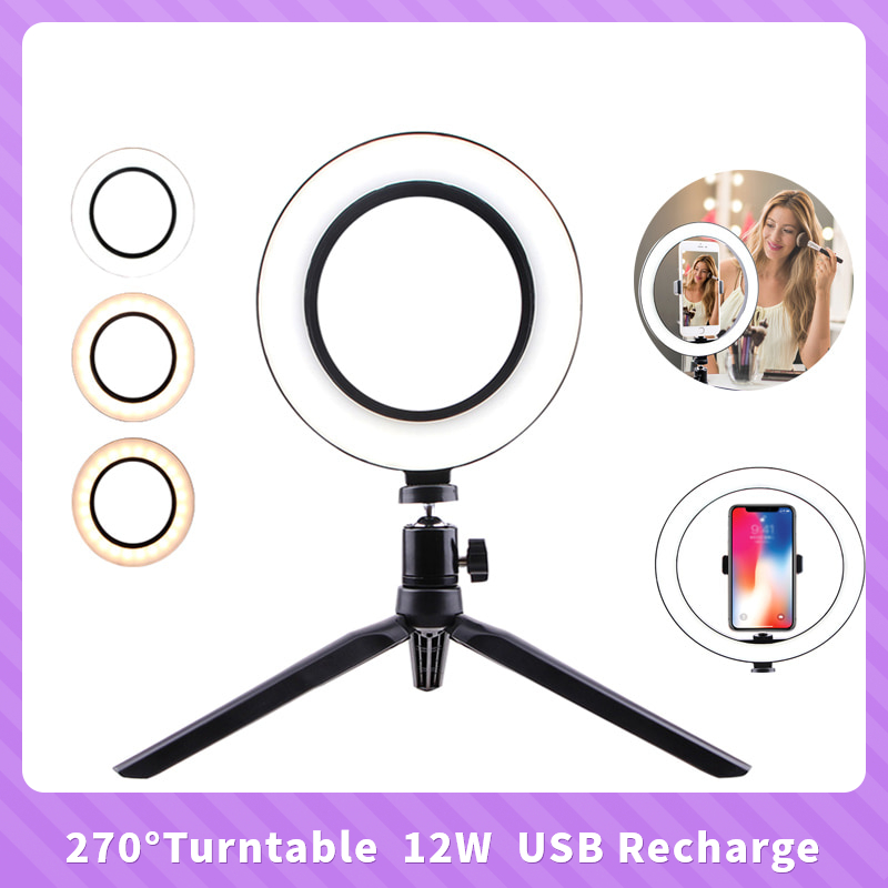 USB Camera Ring Light Makeup with 3Modes LED Lights for Broadcast//Selfie Ring Camera Light 8inch Dimmable LED Ring Fill Light with Tripod Stand//Phone Clip
