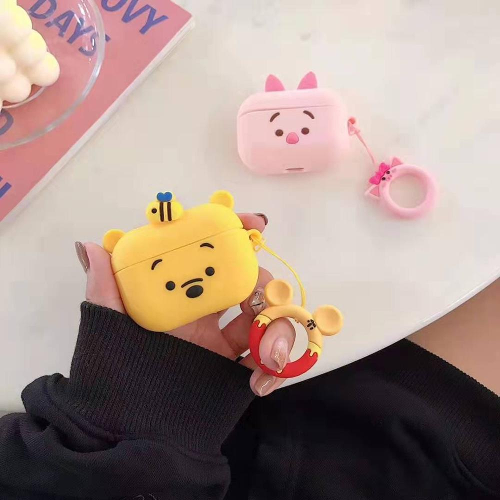 For Apple Airpods Pro Case 3d Cartoon Pooh Bear Piglet Silicone