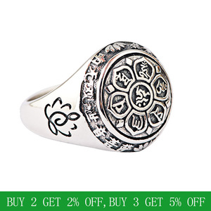 Image 2 - BALMORA Real 925 Sterling Silver Buddhism Retro Spinner Stacking Rings for Women Men Couple Six Words Mantra Fashion Jewelry