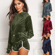 Fashion sports suit womens autumn and winter new hooded casual two-piece