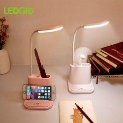 Lampa usb Study lampa biurkowa led akumulator dotykowy regulacja ściemniania lampy stołowe dla dzieci dzieci czytanie nocna salon sypialnia w Lampy na biurko od Lampy i oświetlenie na