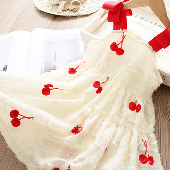 5194 Sleeveless Cherry Embroidery Princess Baby Girl Dress 2020 Summer Party Wedding Kid Dress For Girl Wholesale Child Clothes