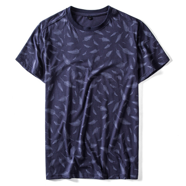 Summer Cotton Feather Print T-shirt Men Sporting Tops Tees O-neck Short Sleeve Elasticity Men T Shirt Quality Mens Tshirts