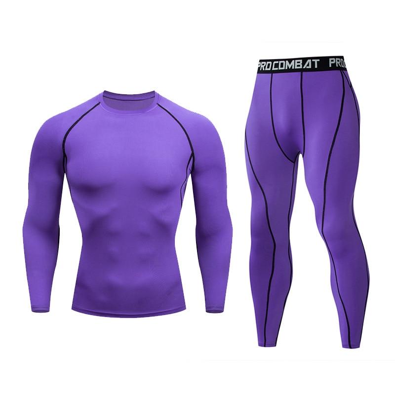 Men's Sports Fitness T-Shirt + Pants - Tights Compression Running Fitness Training Training Long Sleeve MMA Men's Set