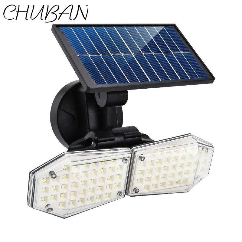 Chuban led de poupança de energia solar luz impermeável jardim ao ar livre lâmpada de parede com pir sensor de movimento detecção terceira engrenagem ajuste