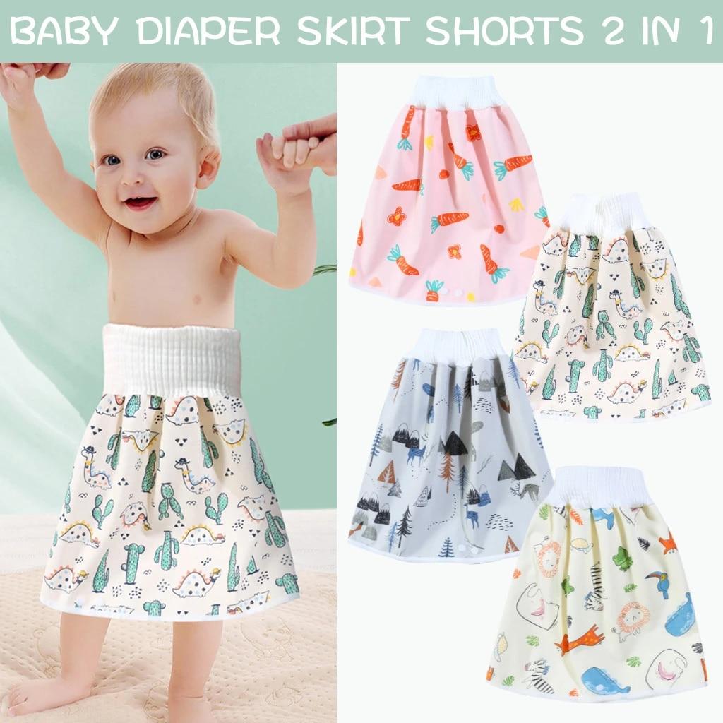 Diaper Pants for Kids.Comfy Reusable Waterproof Baby Diaper Skirt Shorts 2 In 1 Training Skirt