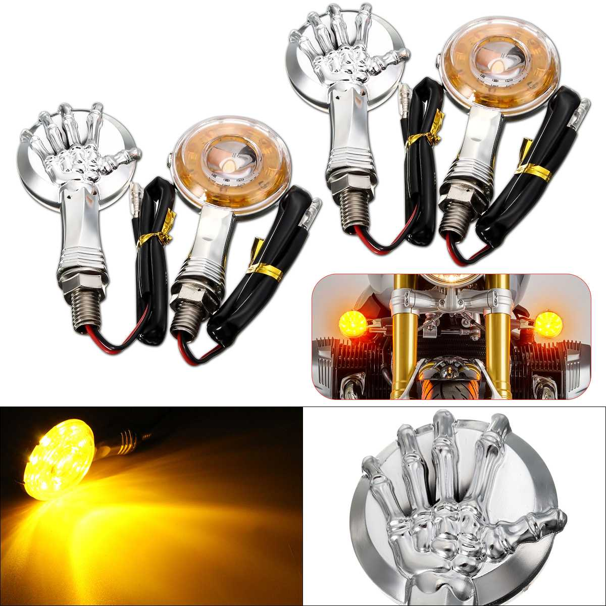 12V Chrome Skull LED Motorcycle Turn Signal Lights Indicator Lamp For Davidson Dyna Softail Sportster 883 Street Glide