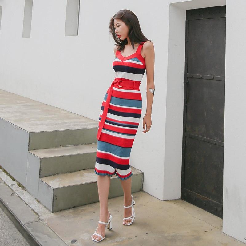 Viscose Long Skirts Children 2019 New Style Summer Slim Fit Slimming Sheath Multi-color Stripe Camisole Jersey Dress
