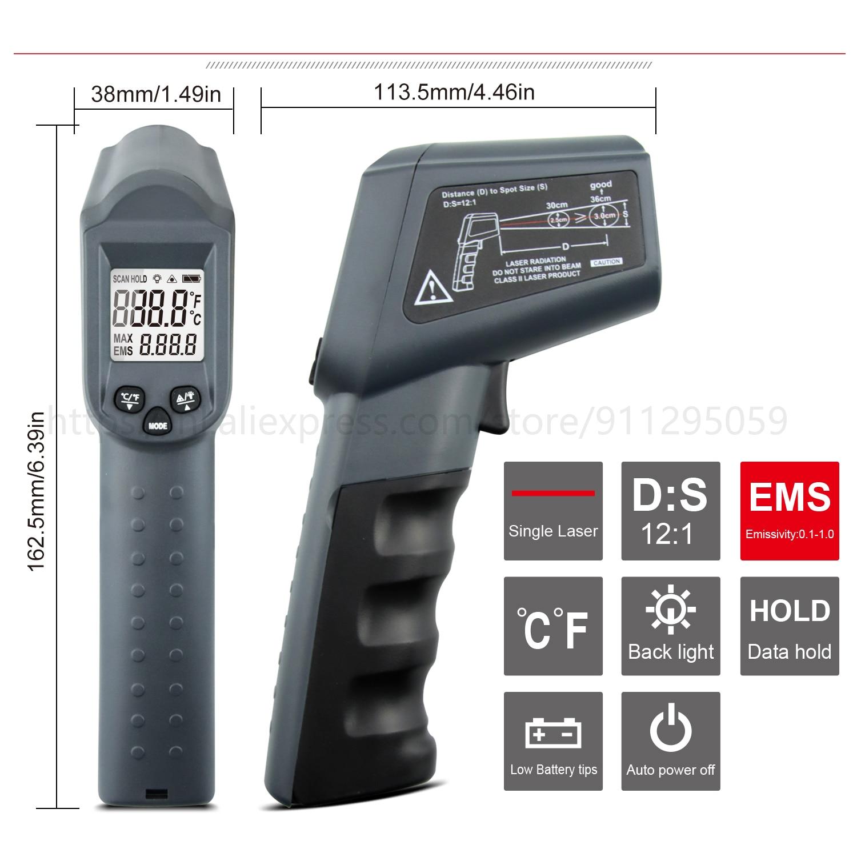 Kaemeasu Digitale Infrarood Thermometer -50 ~ 1600 Meetbereik, Non-contact, Veiligheid, Koken, industriële Elektronische Thermometer Pistool 2