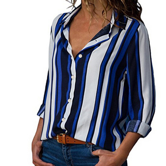 Fashion Striped Print Women Blouse Shirt Button Long Sleeve Top Spring Summer Ladies Casual Blouse Shirts Tops Plus Size S-5XL 3