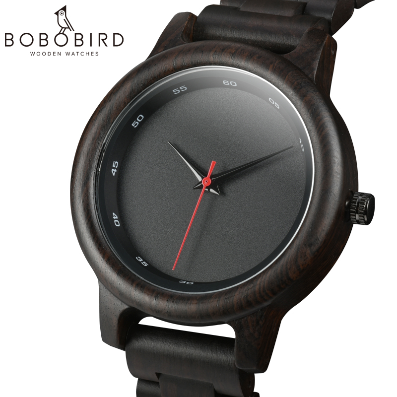 BOBO BIRD Wood Watch Men Sport Style Ebony Quartz Movement Wristwatch Relogio Masculino U-P10