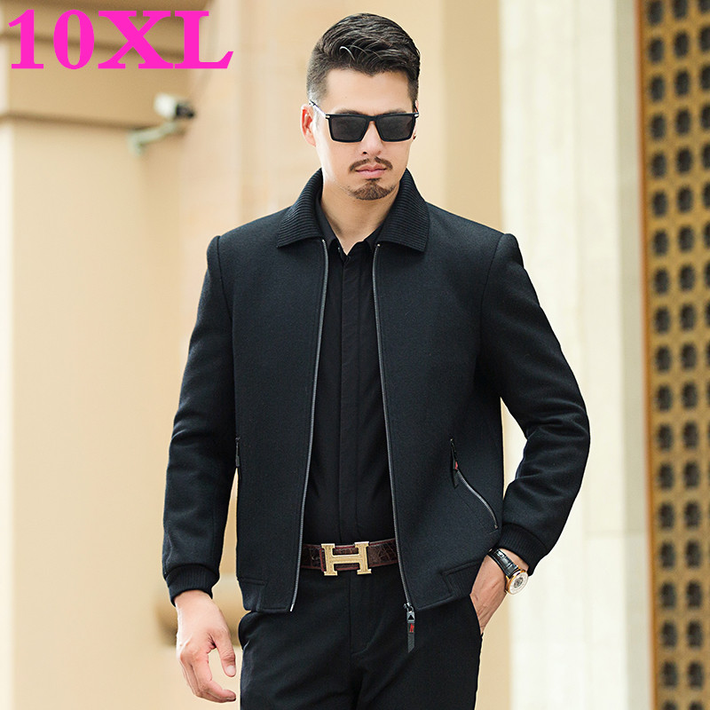 New Big Plus Size 8XL 7XL Coat Men Windbreak Winter Fashion Mens Overcoat Wool Quality Thick Warm Trench Coat Male Woolen C
