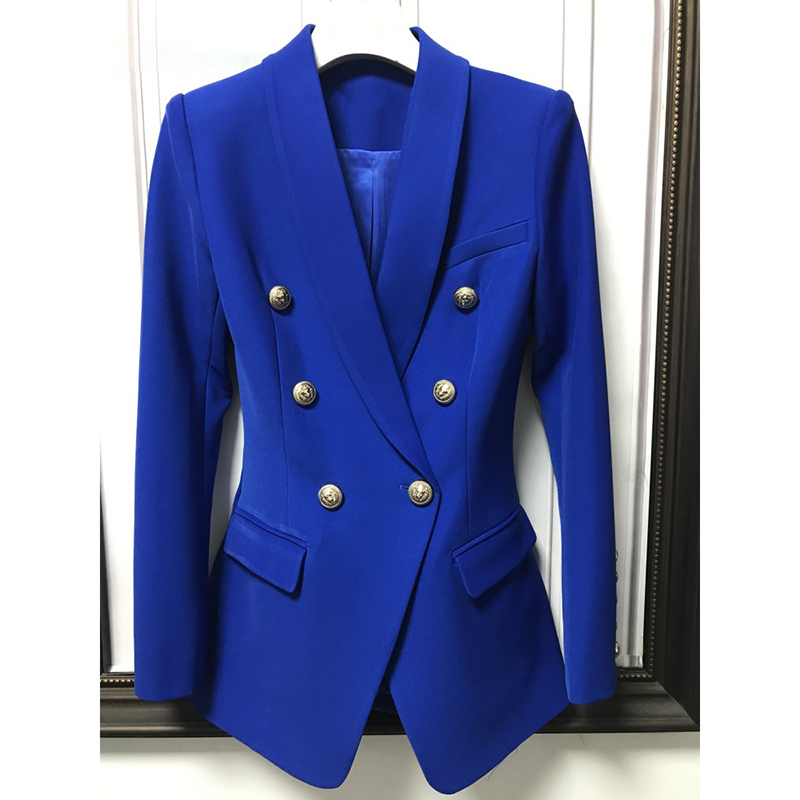 HIGH QUALITY New Fashion 2020 Designer Classic Blazer Jacket Women's Double Breasted Lion Buttons Shawl Collar Long Blazer
