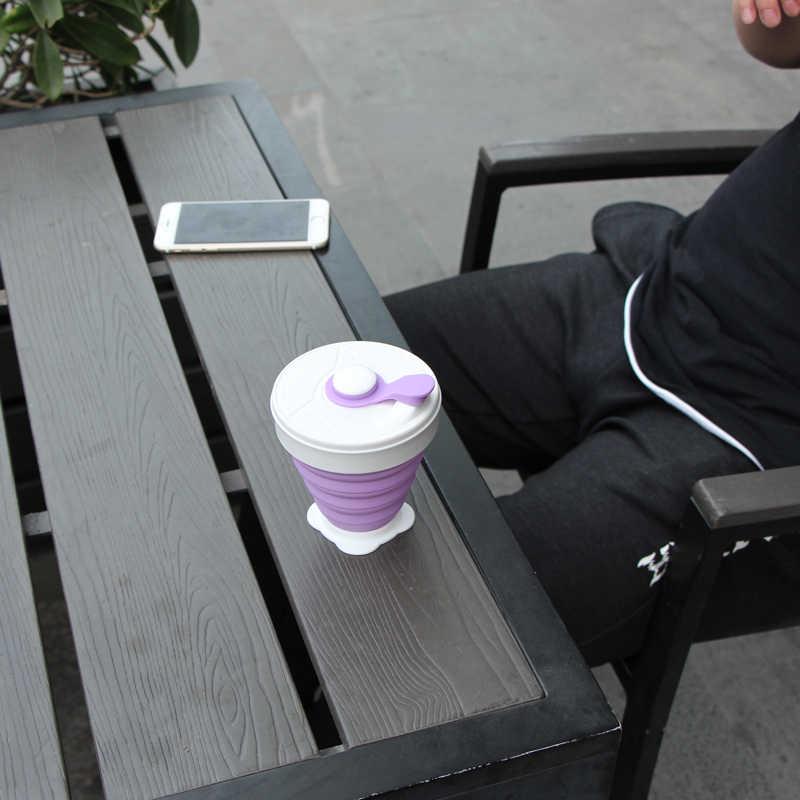 Lipat Silikon Cup 350 Ml Food Grade FDA Gratis Portabel Lipat Susu Gelas Air Di Luar Ruangan Perjalanan Gratis Bpa Dilipat Kopi mug