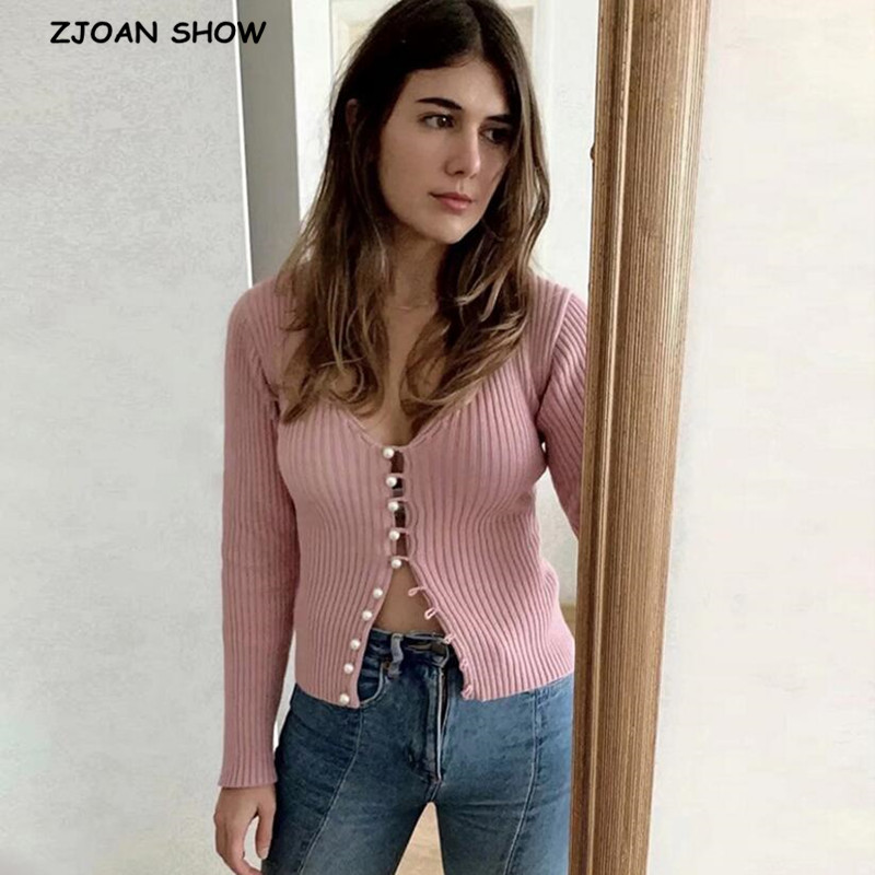 Spring New Stylish Knitting Single Breasted Pearl Cardigan Sweater Pink Woman Deep V-neck Long Sleeve Jumper Knitted Knitwear