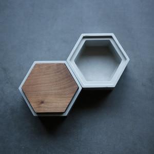 Image 4 - Molde redondo quadrado da caixa do hexágono moldes concretos do silicone da caixa de armazenamento do cimento com molde da tampa