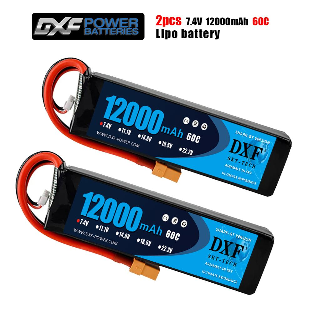 2PCS DXF 2S 7.4V 12000mAh 60C Max 120C Lipo Battery RC Parts with T plug Comfortable for TRXX 1/10 Car Drone Helicopter Boat FPV image