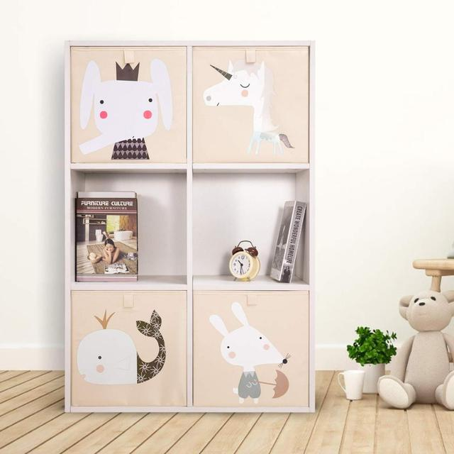 Cube Folding Storage Box For Kids Toys Animal Print