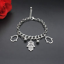 Hollow Out Hamsa Fatima Hand Bracelet Silver Color Men Women Punk Stainless Steel Bracelet Handmade Jewelry Drop Shipping(China)