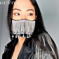 Mascarilla de silicona brillante para mujer, accesorios para cubrir la cara, joyería para boda, decoración para discoteca