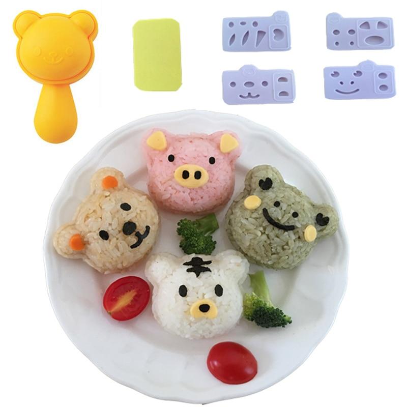 Животные суши Сделай Сам мультфильм форма для Onigiri пресс-форма кухонная форма для рисовых шариков с Nori-Cutter вечерние аксессуары Bento-0