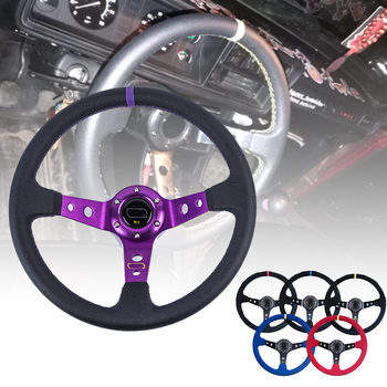 Free Shipping Universal  350mm 14 inch Suede/PVC Auto Racing Steering wheels Deep Corn Drifting Sport Steering Wheel With Logo car deep dish corn flat steering wheel 350mm 14 inch leather racing steering wheel