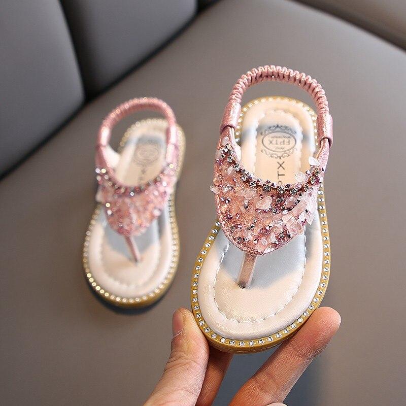 Summer Baby Girls Sandals Toddler Infant Kids Slip On Pearl Crystal Single Princess Roman Shoes For Children Girls Slipper