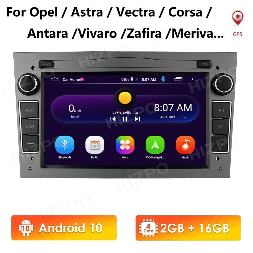 2G 16G Android 10 2 Din Auto Gps Voor Opel Vauxhall Astra H G J Vectra Antara Zafira corsa Vivaro Meriva Veda Dvd-speler