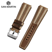 Buckle Watch-Accessories Leather-Strap San Martin Stainless-Steel Bands 003 22mm TUNA