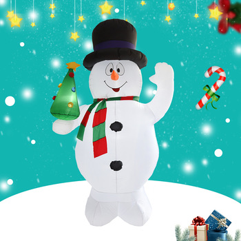 цена на 2.4M LED lights Giant Snowman Christmas Inflatable Child Blow Up Toy Santa Claus Christmas Gift Christmas decoration Party Props