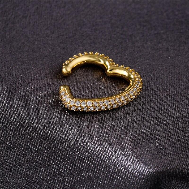 1Pcs 2021 New CZ Crystal Ear Cuff Heart Shape Ear Clips No Pierced Earrings For women Jewellery Birthday Gift