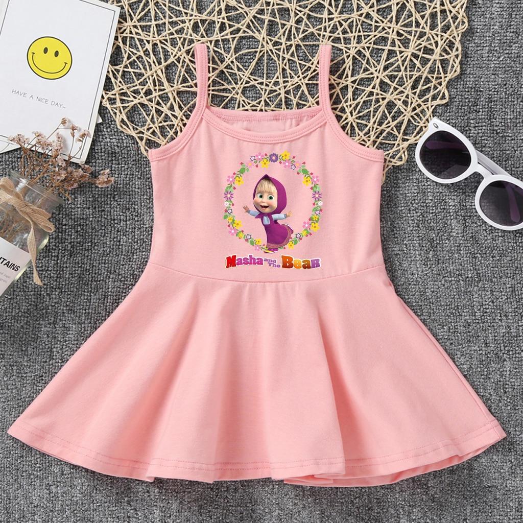 Платье для девочек детское летнее милое желтое розовое платье-майка с круглым вырезом и рисунком «Маша и Медведь» Детская одежда для малень...