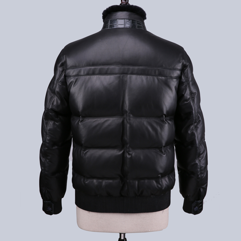 Geniune Leather Jacket Men Sheepskin Leather Goose Down Coat Winter Warm Thick Outwear Casaca De Pluma 16-H32# MF379