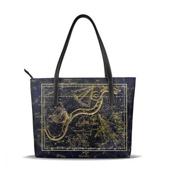 NOISYDESIGNS Constellations Printing Handbags for Women Girl Shoulder Bag Ladies Femme Shopping Bag PU Leather