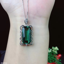 KJJEAXCMY Fine Jewelry 925 Sterling Silver inlaid Green Crystal Girl Pendant Necklace luxury hot selling