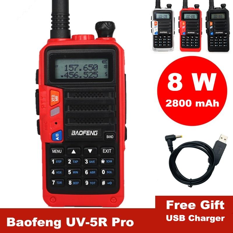 Baofeng Walkie Talkie 10km UV-5R Pro High Power 8W Two Way Radio Dual Band Portable Ham Radio USB Charger CB Radio Transmitter