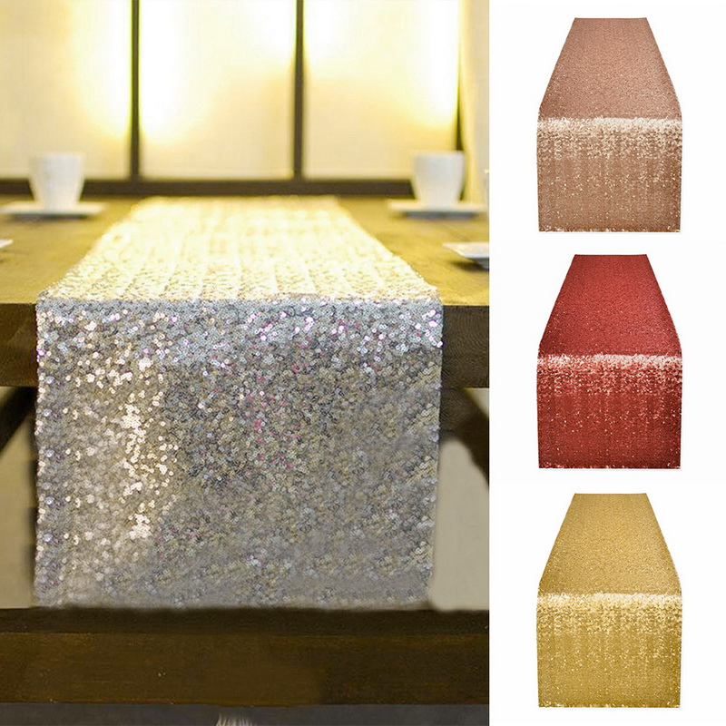 Gold Sequin Table Runner Glitter Home Textile Wedding Party Banquet Table Cloth Dinner Table Banquet Supply Decoration